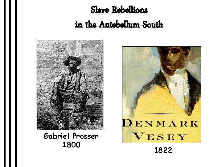 Slave Rebellions in the Antebellum South Gabriel Prosser 1800 1822