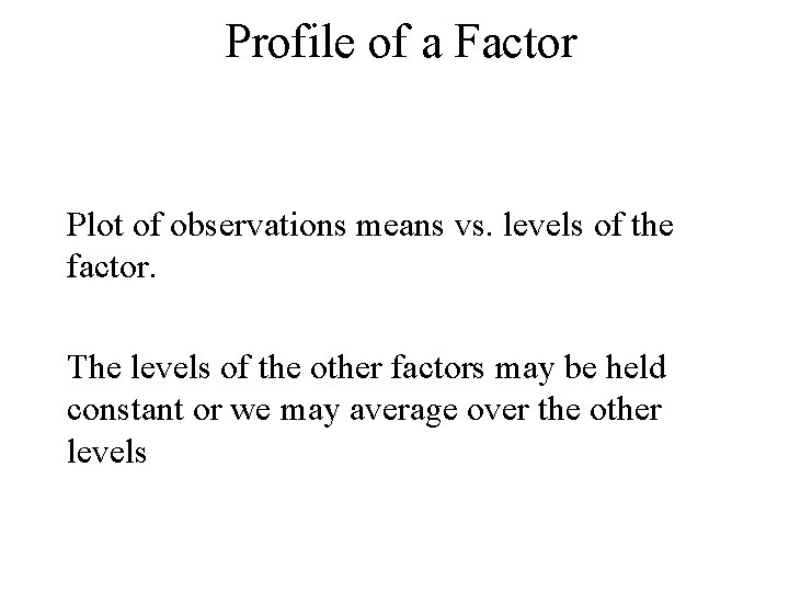 Profile of a Factor Plot of observations means vs. levels of the factor. The