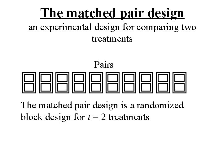 The matched pair design an experimental design for comparing two treatments Pairs The matched