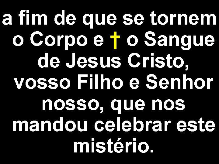 a fim de que se tornem o Corpo e † o Sangue de Jesus