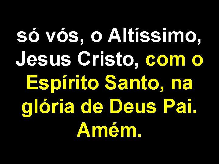 só vós, o Altíssimo, Jesus Cristo, com o Espírito Santo, na glória de Deus