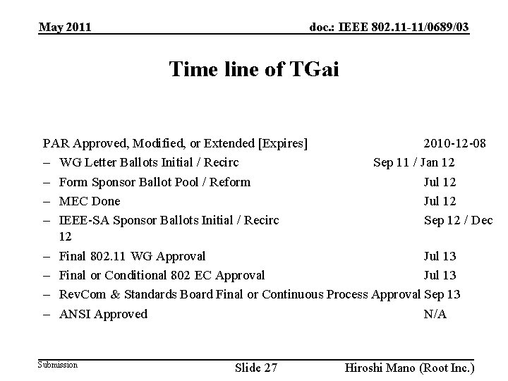 doc. : IEEE 802. 11 -11/0689/03 May 2011 Time line of TGai PAR Approved,