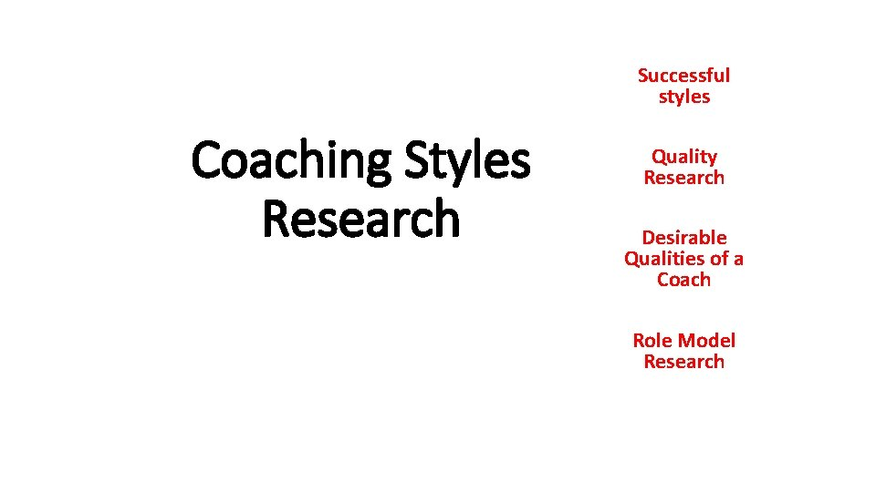 Successful styles Coaching Styles Research Quality Research Desirable Qualities of a Coach Role Model