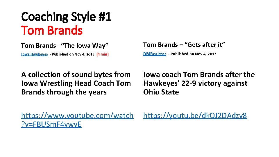"""Coaching Style #1 Tom Brands - """"The Iowa Way"""" Tom Brands – """"Gets after"""