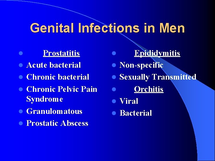 Genital Infections in Men l l l Prostatitis Acute bacterial Chronic Pelvic Pain Syndrome