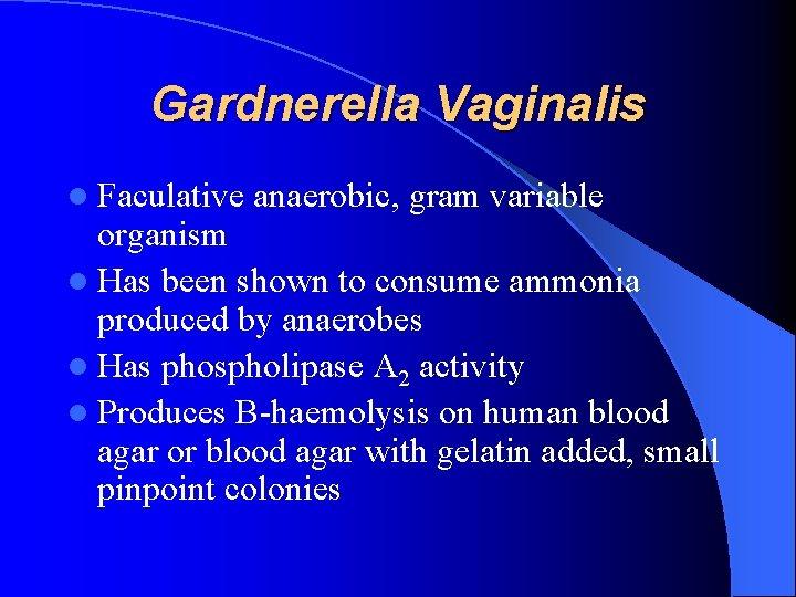 Gardnerella Vaginalis l Faculative anaerobic, gram variable organism l Has been shown to consume