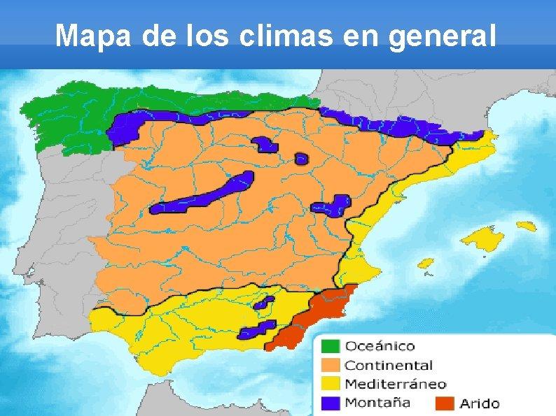 Mapa de los climas en general
