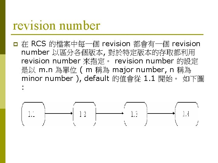revision number p 在 RCS 的檔案中每一個 revision 都會有一個 revision number 以區分各個版本, 對於特定版本的存取都利用 revision number