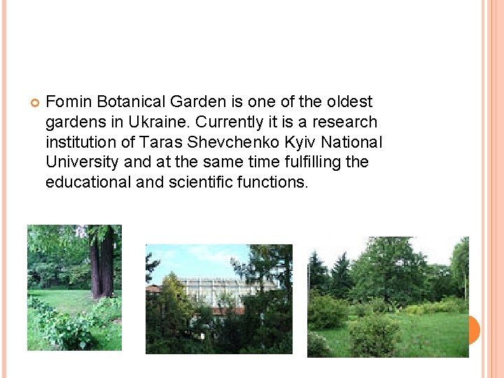 Fomin Botanical Garden is one of the oldest gardens in Ukraine. Currently it