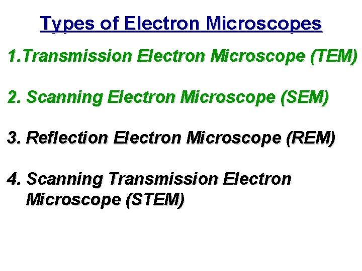 Types of Electron Microscopes 1. Transmission Electron Microscope (TEM) 2. Scanning Electron Microscope (SEM)