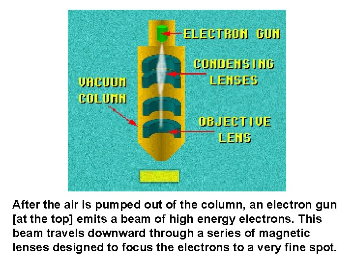 After the air is pumped out of the column, an electron gun [at the