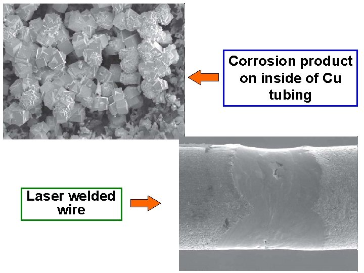 Corrosion product on inside of Cu tubing Laser welded wire