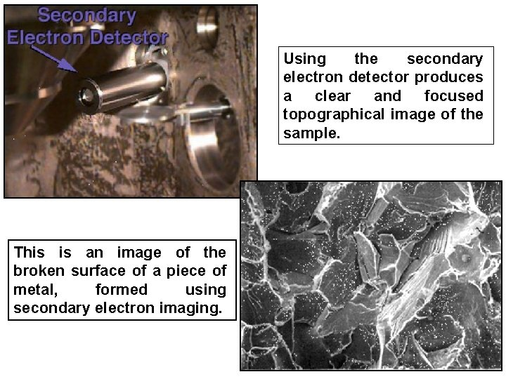 Using the secondary electron detector produces a clear and focused topographical image of the