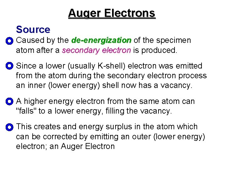 Auger Electrons Source Caused by the de-energization of the specimen de-energization atom after a