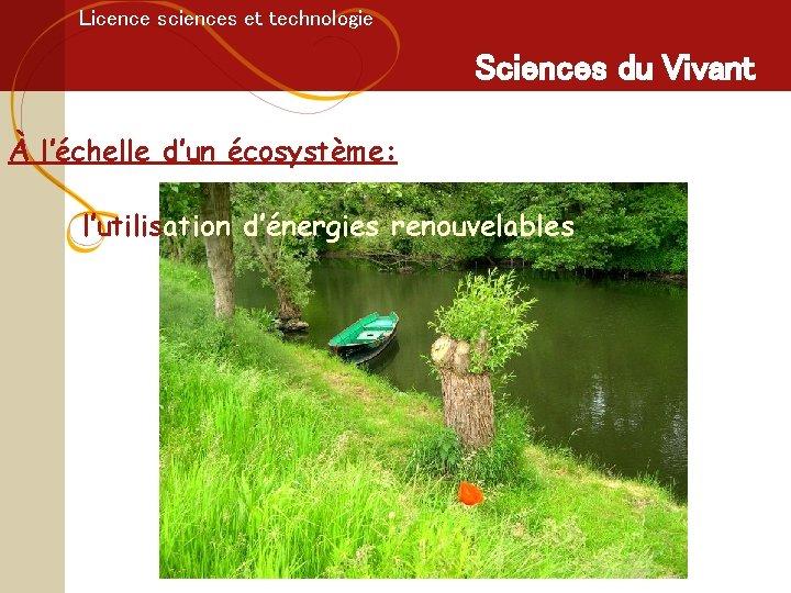 Licence sciences et technologie Sciences du Vivant À l'échelle d'un écosystème: l'utilisation d'énergies renouvelables