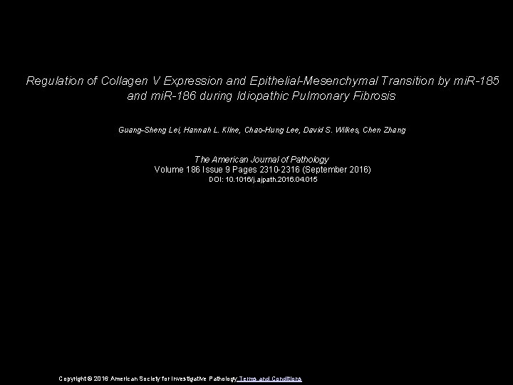 Regulation of Collagen V Expression and Epithelial-Mesenchymal Transition by mi. R-185 and mi. R-186