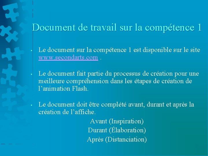 Document de travail sur la compétence 1 • Le document sur la compétence 1