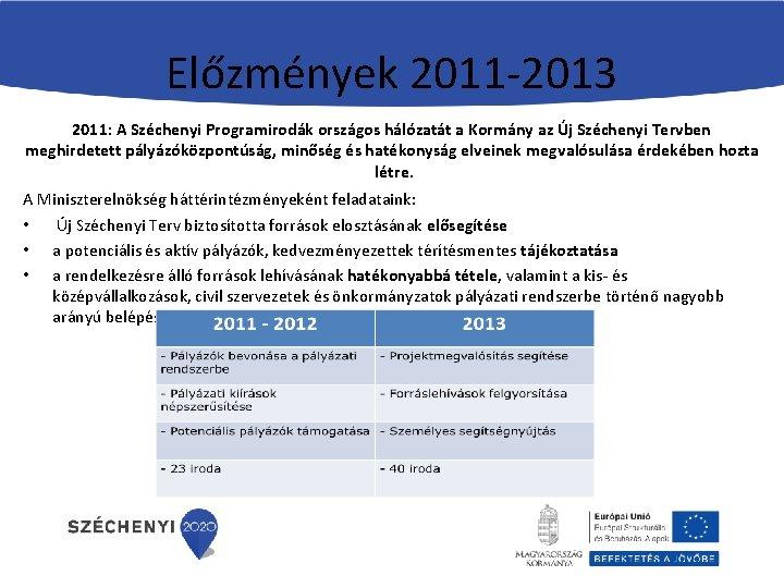 Előzmények 2011 -2013 2011: A Széchenyi Programirodák országos hálózatát a Kormány az Új Széchenyi