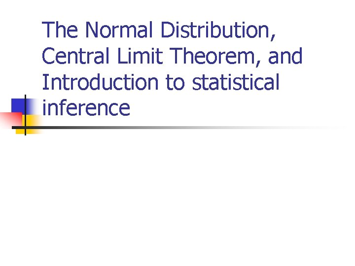 The Normal Distribution, Central Limit Theorem, and Introduction to statistical inference