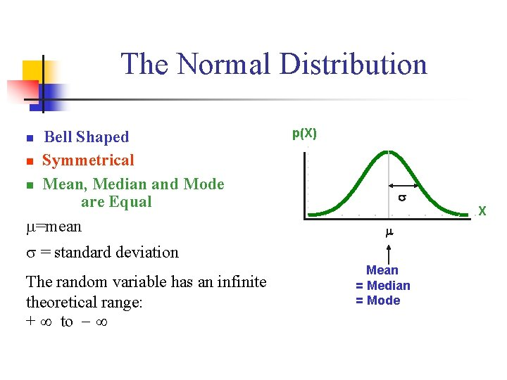 The Normal Distribution n 'Bell Shaped' n Symmetrical n Mean, Median and Mode are