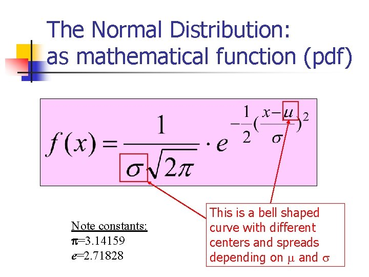 The Normal Distribution: as mathematical function (pdf) Note constants: =3. 14159 e=2. 71828 This