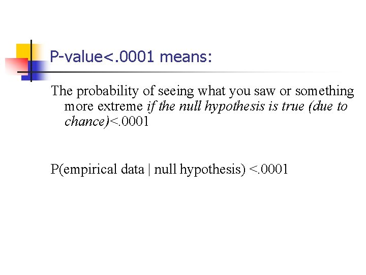 P-value<. 0001 means: The probability of seeing what you saw or something more extreme
