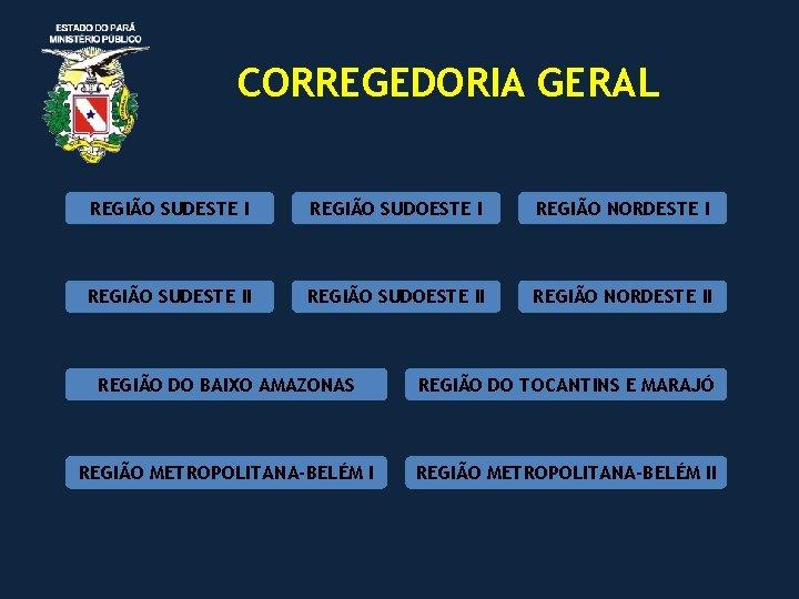 CORREGEDORIA GERAL REGIÃO SUDESTE I REGIÃO SUDOESTE I REGIÃO NORDESTE I REGIÃO SUDESTE II
