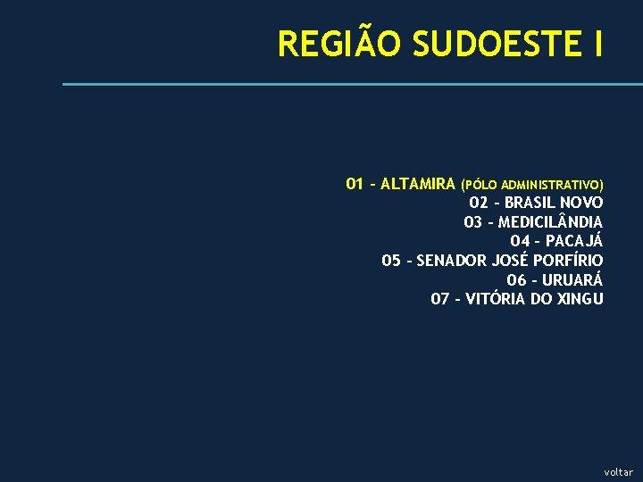 REGIÃO SUDOESTE I 01 - ALTAMIRA (PÓLO ADMINISTRATIVO) 02 - BRASIL NOVO 03 –