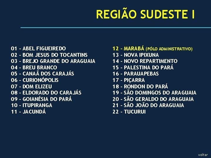 REGIÃO SUDESTE I 01 02 03 04 05 06 07 08 09 10 11