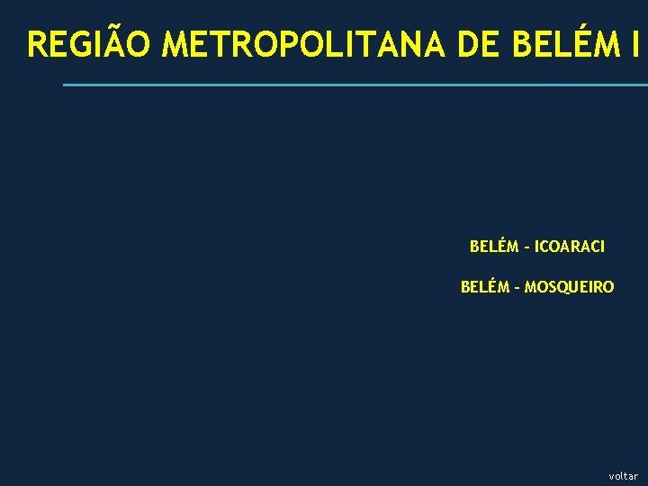 REGIÃO METROPOLITANA DE BELÉM I BELÉM – ICOARACI BELÉM – MOSQUEIRO voltar