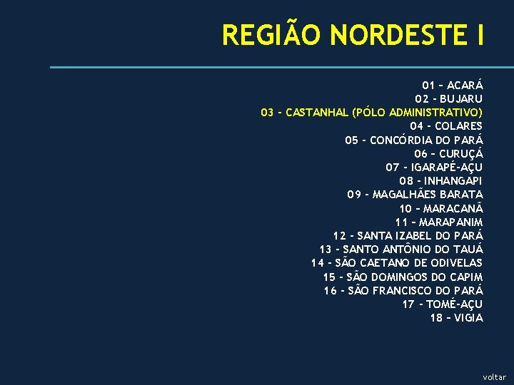 REGIÃO NORDESTE I 01 – ACARÁ 02 - BUJARU 03 - CASTANHAL (PÓLO ADMINISTRATIVO)
