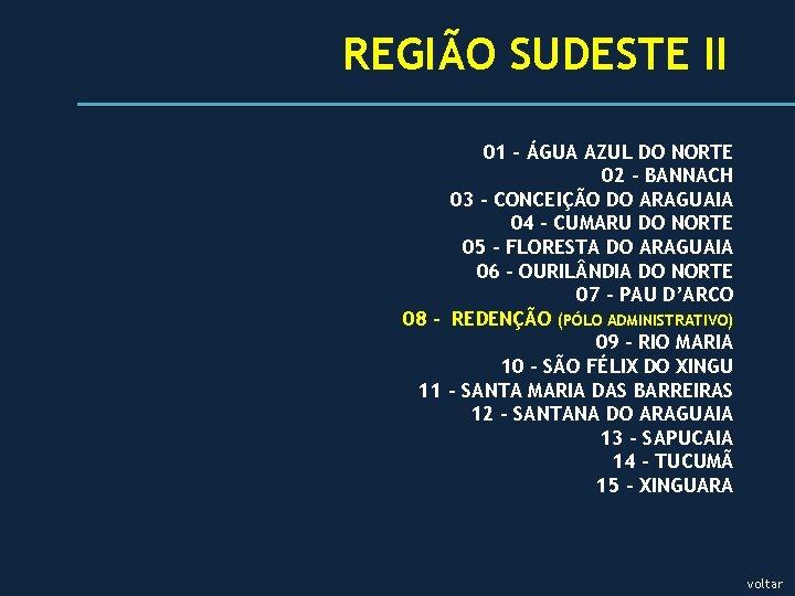 REGIÃO SUDESTE II 01 - ÁGUA AZUL DO NORTE 02 - BANNACH 03 -