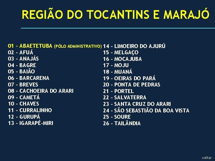 REGIÃO DO TOCANTINS E MARAJÓ 01 02 03 04 05 06 07 08 09