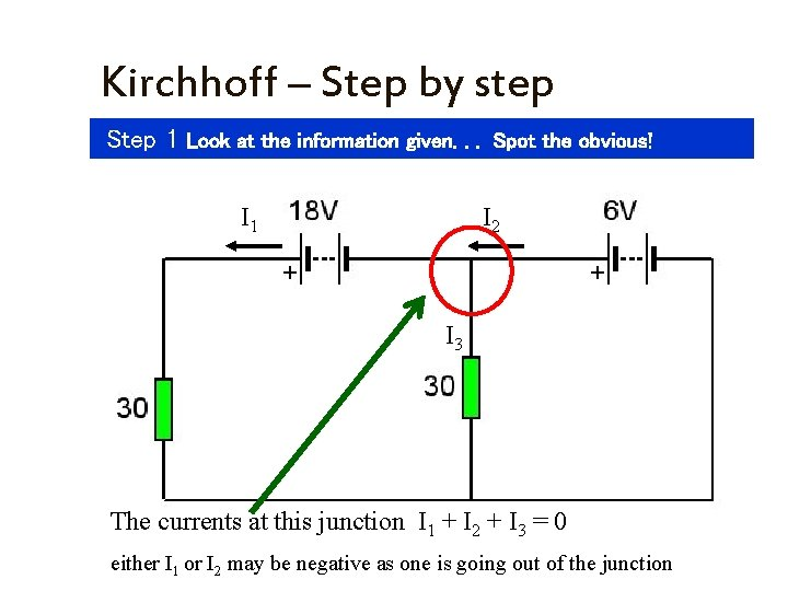 Kirchhoff – Step by step Step 1 Look at the information given. . .