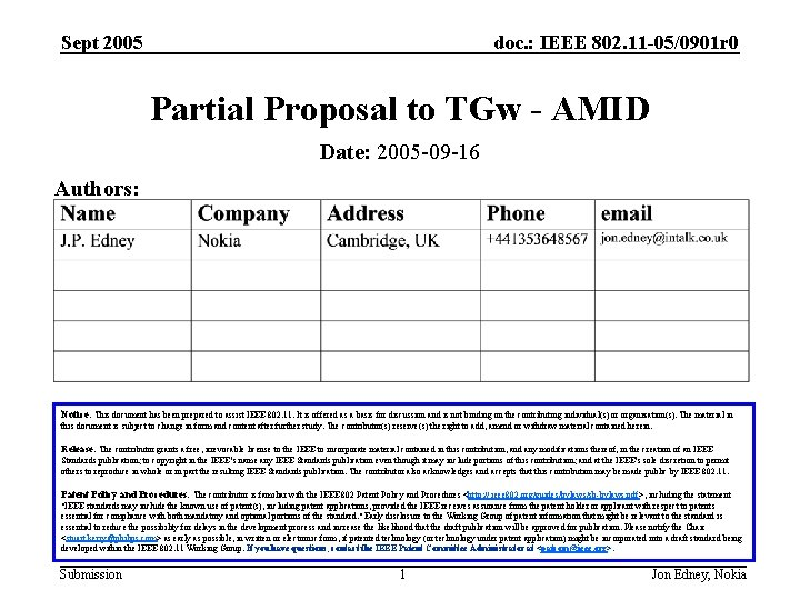 Sept 2005 doc. : IEEE 802. 11 -05/0901 r 0 Partial Proposal to TGw