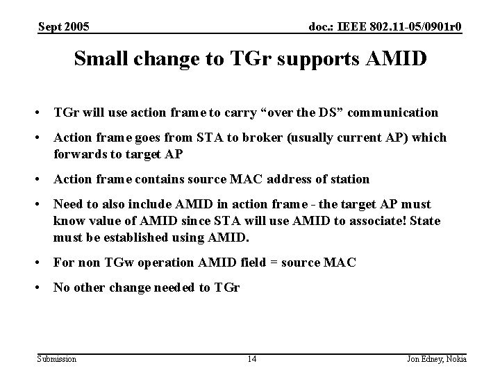 Sept 2005 doc. : IEEE 802. 11 -05/0901 r 0 Small change to TGr