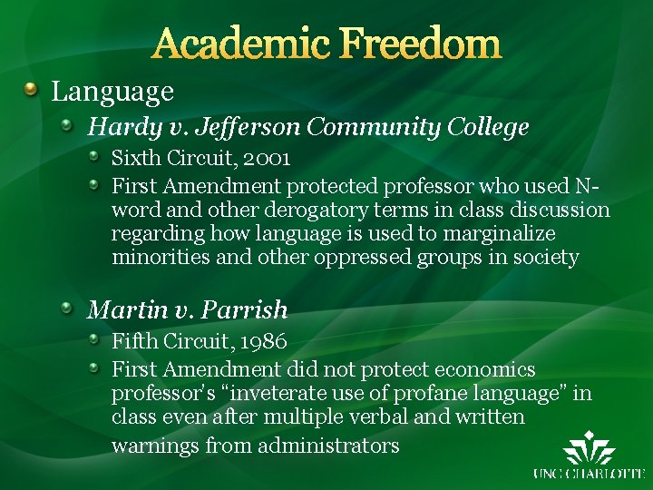 Academic Freedom Language Hardy v. Jefferson Community College Sixth Circuit, 2001 First Amendment protected