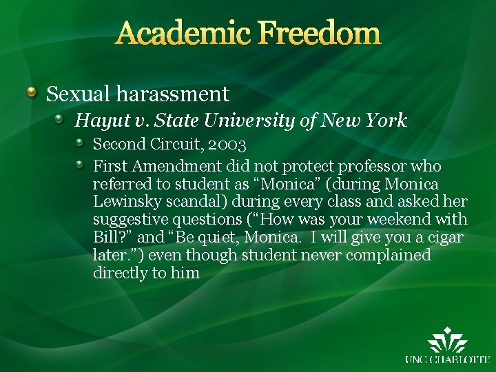 Academic Freedom Sexual harassment Hayut v. State University of New York Second Circuit, 2003