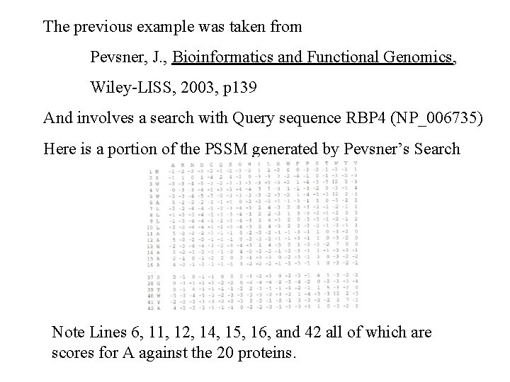 The previous example was taken from Pevsner, J. , Bioinformatics and Functional Genomics, Wiley-LISS,
