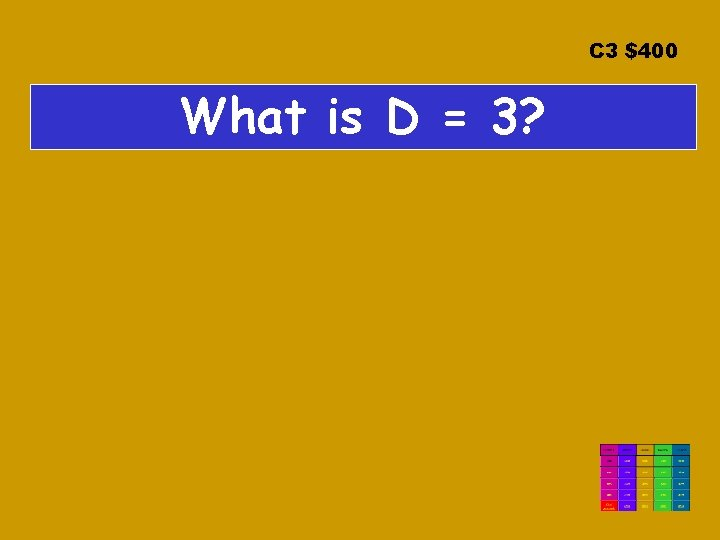 C 3 $400 What is D = 3?