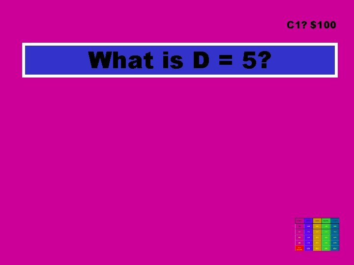 C 1? $100 What is D = 5?