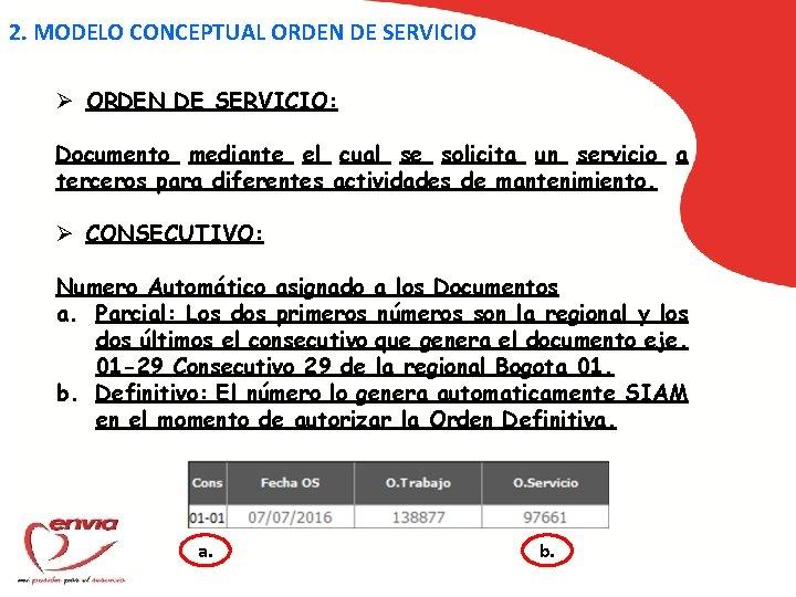 2. MODELO CONCEPTUAL ORDEN DE SERVICIO Ø ORDEN DE SERVICIO: Documento mediante el cual