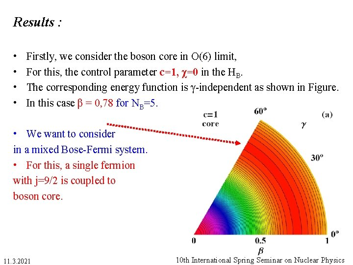 Results : • • Firstly, we consider the boson core in O(6) limit, For