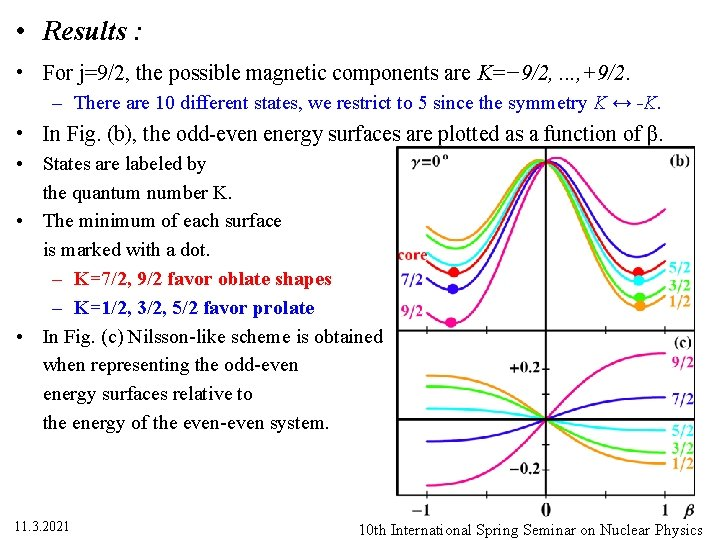 • Results : • For j=9/2, the possible magnetic components are K=− 9/2,