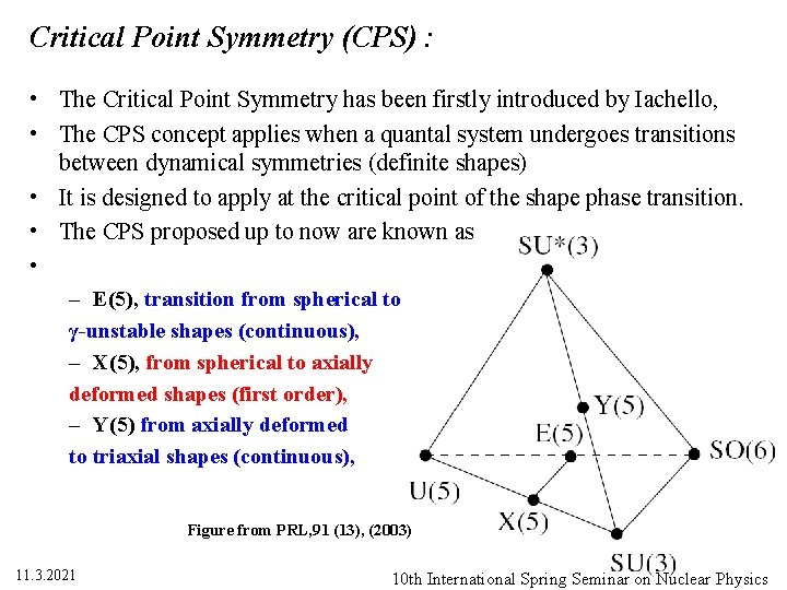 Critical Point Symmetry (CPS) : • The Critical Point Symmetry has been firstly introduced