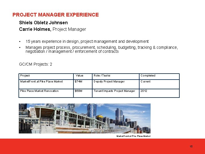 PROJECT MANAGER EXPERIENCE Shiels Obletz Johnsen Carrie Holmes, Project Manager • • 15 years