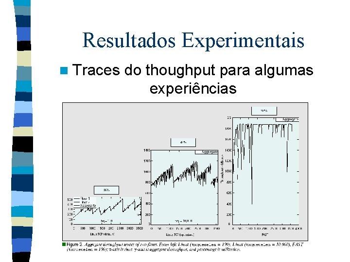 Resultados Experimentais n Traces do thoughput para algumas experiências
