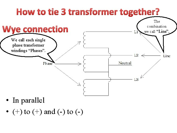 How to tie 3 transformer together? Wye connection We call each single phase transformer