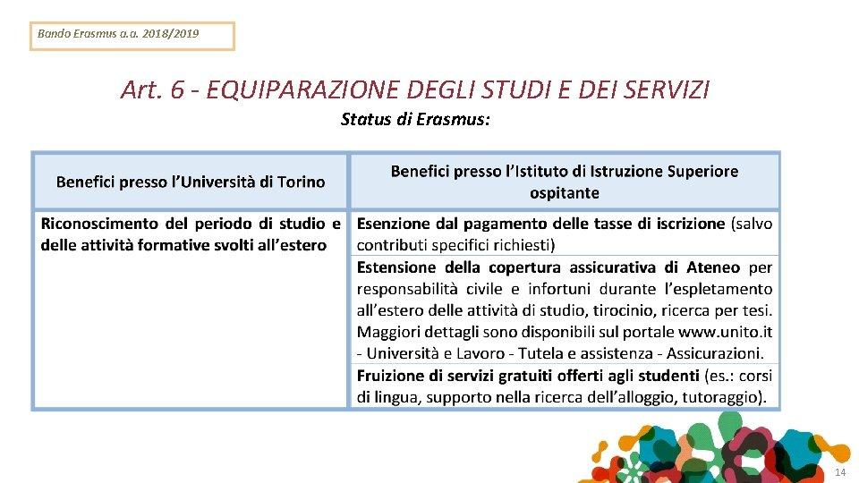 Bando Erasmus a. a. 2018/2019 Art. 6 - EQUIPARAZIONE DEGLI STUDI E DEI SERVIZI