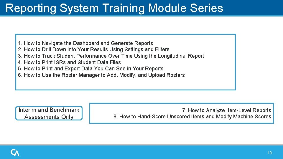 Reporting System Training Module Series 1. How to Navigate the Dashboard and Generate Reports